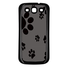 Dog Foodprint Paw Prints Seamless Background And Pattern Samsung Galaxy S3 Back Case (Black)