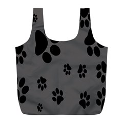 Dog Foodprint Paw Prints Seamless Background And Pattern Full Print Recycle Bags (l)