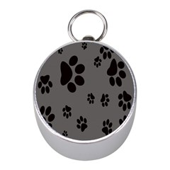 Dog Foodprint Paw Prints Seamless Background And Pattern Mini Silver Compasses