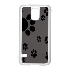 Dog Foodprint Paw Prints Seamless Background And Pattern Samsung Galaxy S5 Case (White)