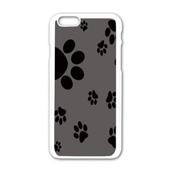 Dog Foodprint Paw Prints Seamless Background And Pattern Apple Iphone 6/6s White Enamel Case