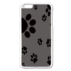 Dog Foodprint Paw Prints Seamless Background And Pattern Apple iPhone 6 Plus/6S Plus Enamel White Case