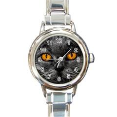 Cat Eyes Background Image Hypnosis Round Italian Charm Watch