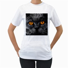 Cat Eyes Background Image Hypnosis Women s T Shirt (white) (two Sided)