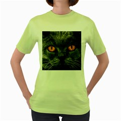 Cat Eyes Background Image Hypnosis Women s Green T Shirt