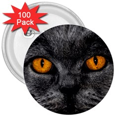Cat Eyes Background Image Hypnosis 3  Buttons (100 pack)