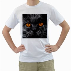 Cat Eyes Background Image Hypnosis Men s T-Shirt (White) (Two Sided)
