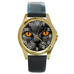 Cat Eyes Background Image Hypnosis Round Gold Metal Watch