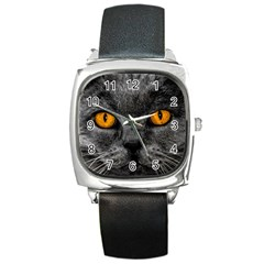 Cat Eyes Background Image Hypnosis Square Metal Watch