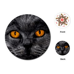 Cat Eyes Background Image Hypnosis Playing Cards (Round)