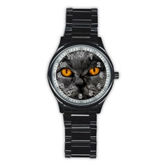 Cat Eyes Background Image Hypnosis Stainless Steel Round Watch