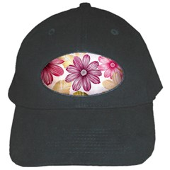 Flower Print Fabric Pattern Texture Black Cap