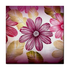 Flower Print Fabric Pattern Texture Tile Coasters