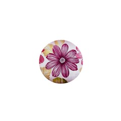 Flower Print Fabric Pattern Texture 1  Mini Magnets