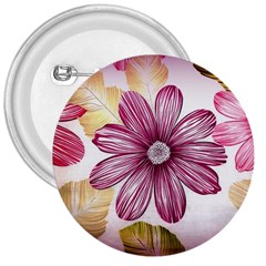Flower Print Fabric Pattern Texture 3  Buttons
