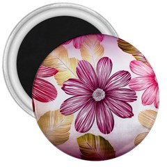 Flower Print Fabric Pattern Texture 3  Magnets