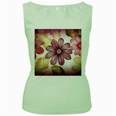 Flower Print Fabric Pattern Texture Women s Green Tank Top