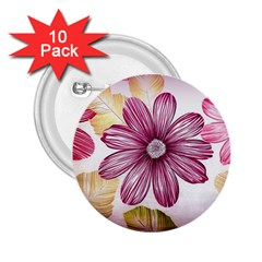 Flower Print Fabric Pattern Texture 2 25  Buttons (10 Pack)