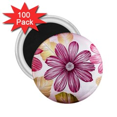 Flower Print Fabric Pattern Texture 2 25  Magnets (100 Pack)