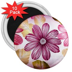 Flower Print Fabric Pattern Texture 3  Magnets (10 Pack)