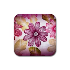 Flower Print Fabric Pattern Texture Rubber Square Coaster (4 pack)