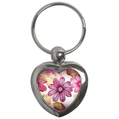 Flower Print Fabric Pattern Texture Key Chains (Heart)
