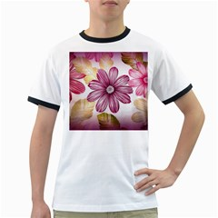 Flower Print Fabric Pattern Texture Ringer T Shirts