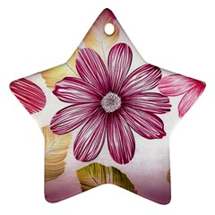 Flower Print Fabric Pattern Texture Star Ornament (two Sides)