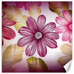 Flower Print Fabric Pattern Texture Canvas 16  x 16