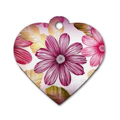 Flower Print Fabric Pattern Texture Dog Tag Heart (two Sides)
