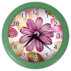 Flower Print Fabric Pattern Texture Color Wall Clocks