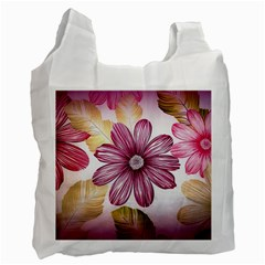 Flower Print Fabric Pattern Texture Recycle Bag (Two Side)