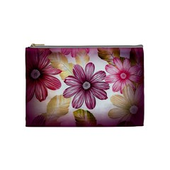 Flower Print Fabric Pattern Texture Cosmetic Bag (Medium)