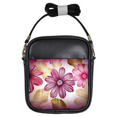 Flower Print Fabric Pattern Texture Girls Sling Bags