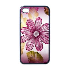 Flower Print Fabric Pattern Texture Apple Iphone 4 Case (black)
