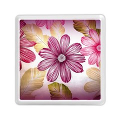 Flower Print Fabric Pattern Texture Memory Card Reader (Square)