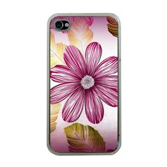 Flower Print Fabric Pattern Texture Apple Iphone 4 Case (clear)