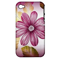 Flower Print Fabric Pattern Texture Apple Iphone 4/4s Hardshell Case (pc+silicone)