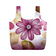 Flower Print Fabric Pattern Texture Full Print Recycle Bags (M)