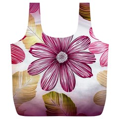 Flower Print Fabric Pattern Texture Full Print Recycle Bags (L)