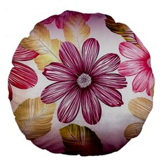 Flower Print Fabric Pattern Texture Large 18  Premium Flano Round Cushions