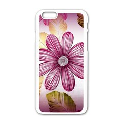Flower Print Fabric Pattern Texture Apple iPhone 6/6S White Enamel Case
