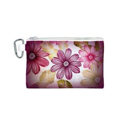Flower Print Fabric Pattern Texture Canvas Cosmetic Bag (S)