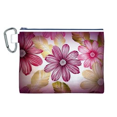 Flower Print Fabric Pattern Texture Canvas Cosmetic Bag (l)