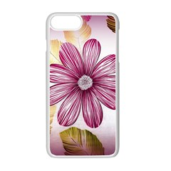 Flower Print Fabric Pattern Texture Apple iPhone 7 Plus White Seamless Case
