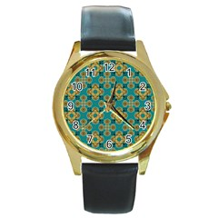 Vintage Pattern Unique Elegant Round Gold Metal Watch