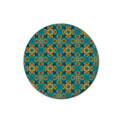 Vintage Pattern Unique Elegant Rubber Round Coaster (4 pack)