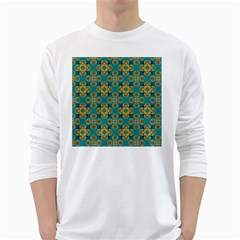 Vintage Pattern Unique Elegant White Long Sleeve T-Shirts