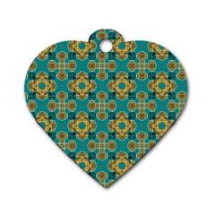 Vintage Pattern Unique Elegant Dog Tag Heart (one Side)