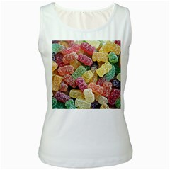 Jelly Beans Candy Sour Sweet Women s White Tank Top